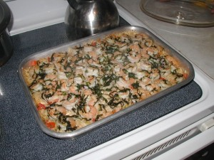 Shrimp Orzo Basil Dish After Cooking