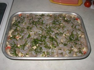 Shrimp Orzo Basil Dish Before Cooking